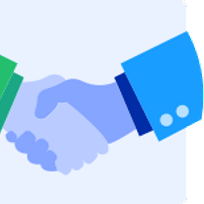 Illustration of shaking hands in agreement